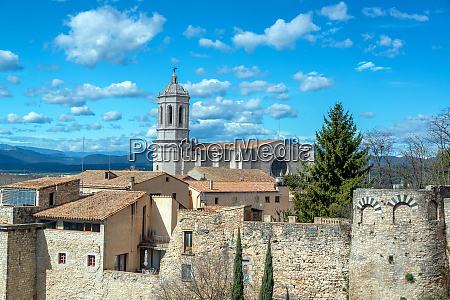 historic girona spain and cathedral
