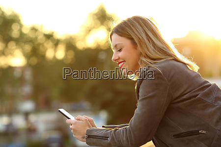 profile of a happy woman using