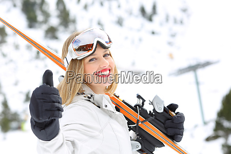 skier ready to sky looking at