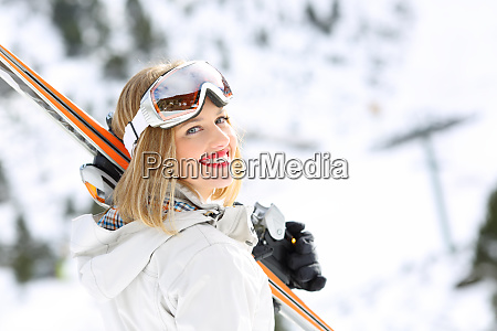 happy skier girl ready to ski