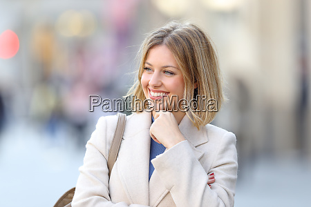 happy beauty woman looking at side