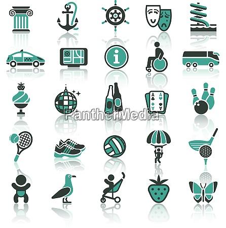 set icons vacation tourism recreation