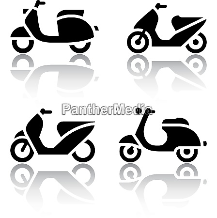 set of transport icons scooter