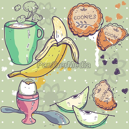 hand drawn vector illustration of breakfast