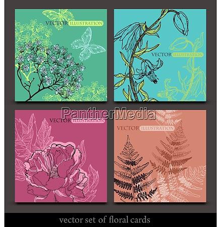 vector four seasons cards