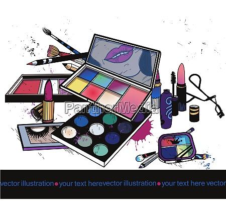 vector illustration of colorful make up