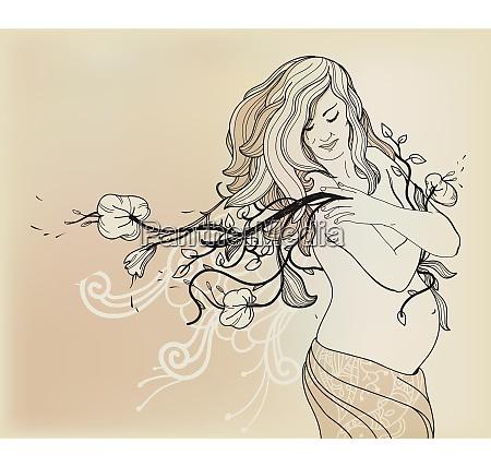 vector illustration of happy pregnant woman
