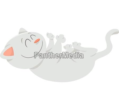 happy white cat cartoon animal character