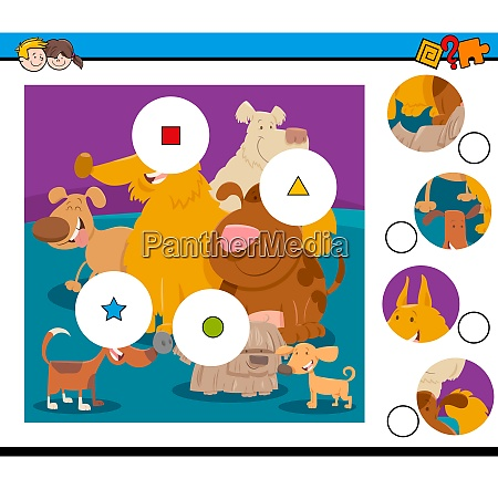 match pieces puzzle with happy dogs