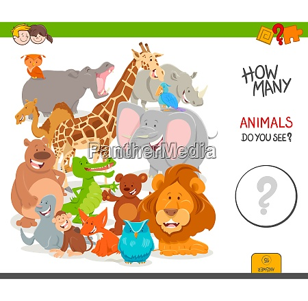 counting cartoon wild animals educational game