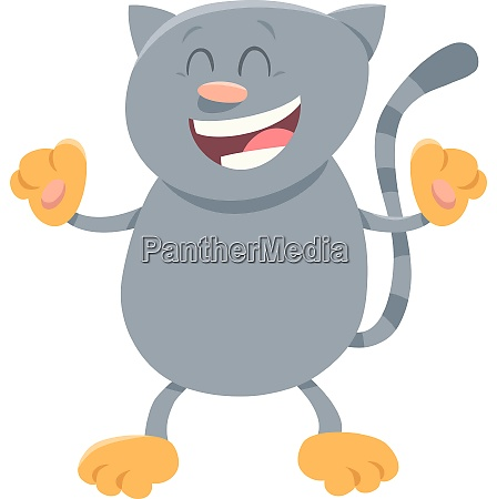 happy gray cat cartoon animal character
