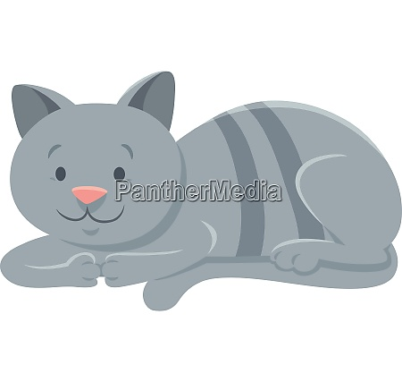 funny, gray, cat, cartoon, animal, character - 26556762