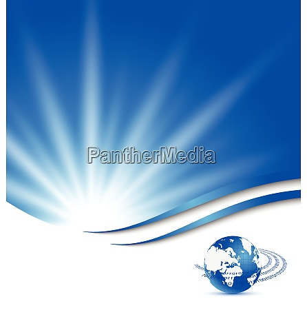 illustration abstract blue card with earth