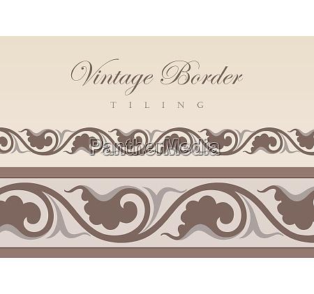 vintage floral tiling border retro design
