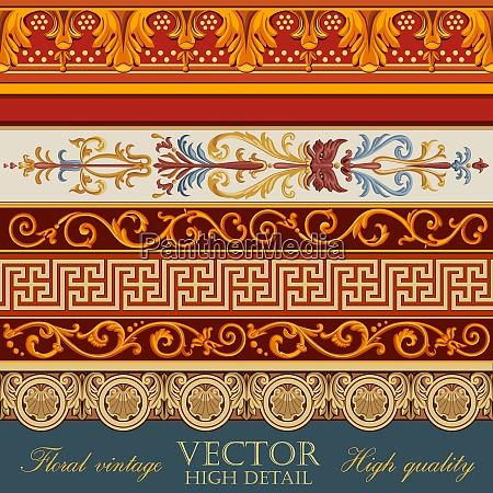 vintage borders design floral pattern retro
