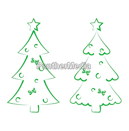 illustration christmas set trees with decoration