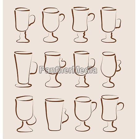 illustration sketch set coffee and latte