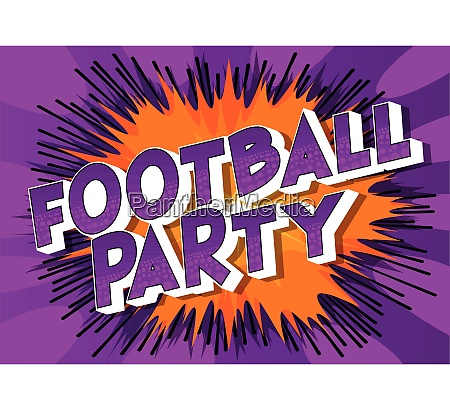 football party comic book style