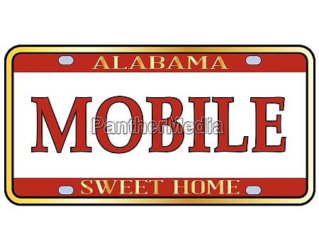 mobile city alabama state license plate