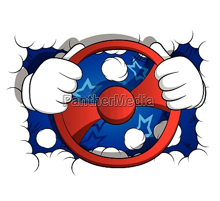 cartoon hands driving holding a steering