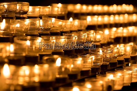 group of grief candles in church