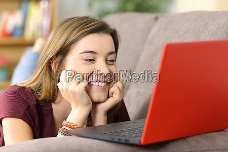 teen watching media content on line