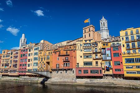 girona spain and catalan flag