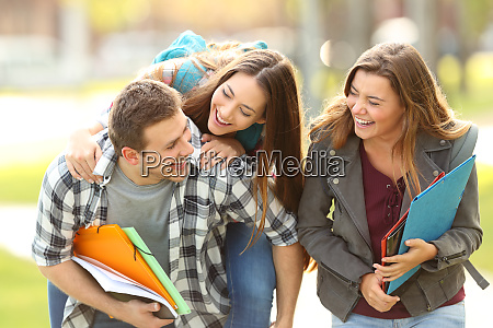 happy students and friends in a