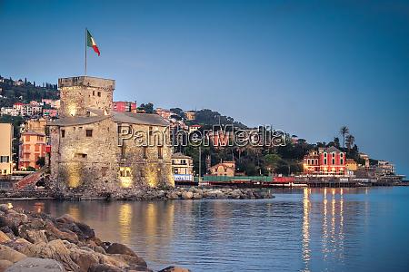 italian castle at twilight rapallo genoa
