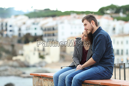 couple in love looking away on