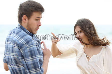 crazy girlfriend scolding her boyfriend