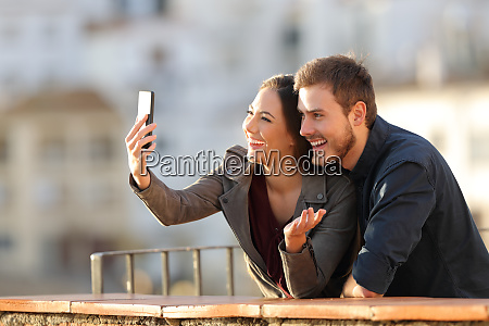 happy couple having a video call