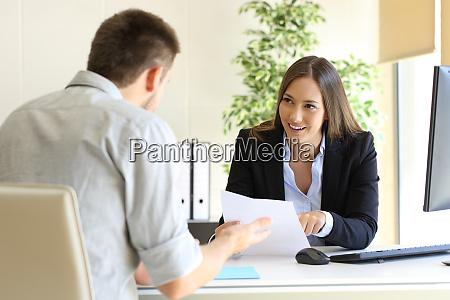 businessman talking in a job interview