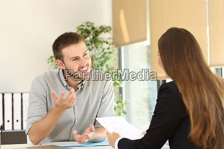 man talking in a job interview