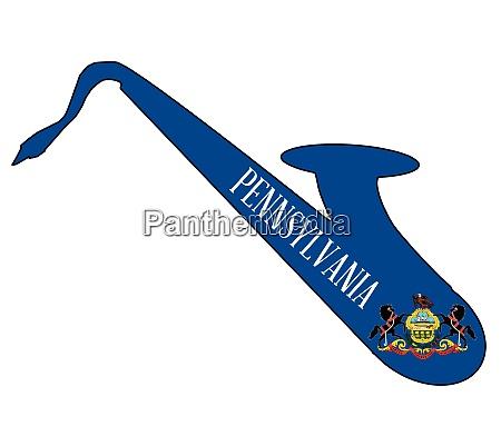 saxophone silhouette with pennsylvania flag icons