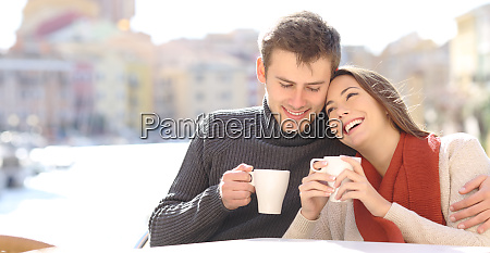 couple in love flirting in a