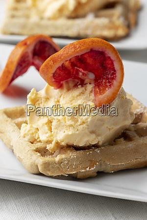 ice cream on a waffle