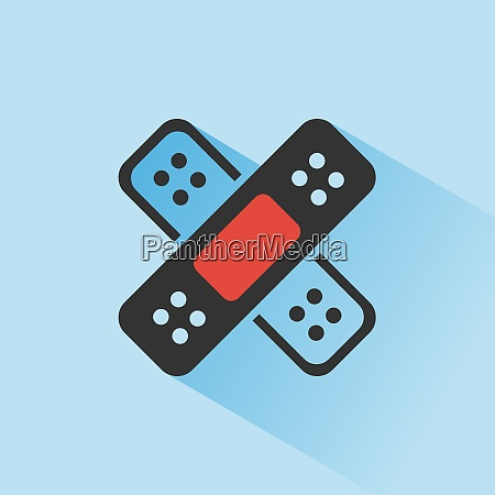 band aid icon with shadow on