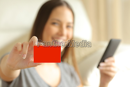 online buyer showing a blank credit