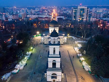 aerial drone view of chisinau city