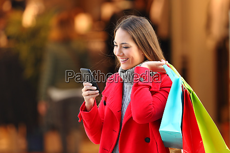shopper shopping and using a smart