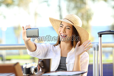 tourist having a video call on