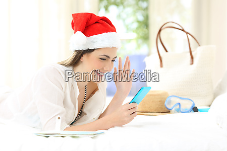 woman on christmas holidays talking in