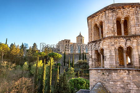 historic tower and girona cathedral