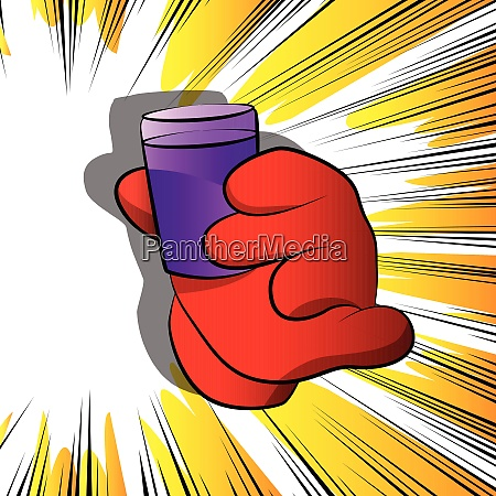 cartoon hand holding a cup of