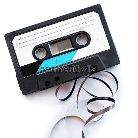 audio tape blank label rolled out
