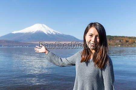 asian woman visit fujisan