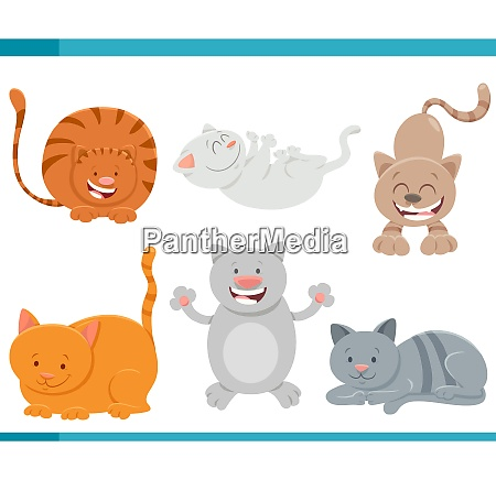 cats and kittens comic characters set