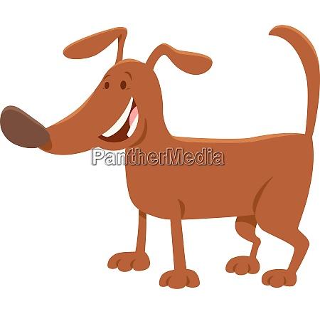 funny brown dog cartoon animal character