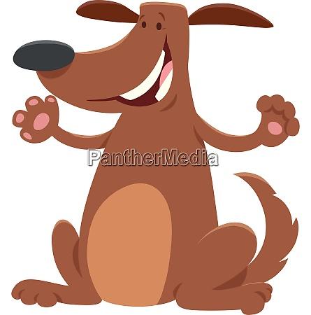 happy brown dog cartoon animal character